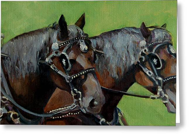 Horse Pulling Wagon Greeting Cards - Gee and Haw Greeting Card by Pattie Wall