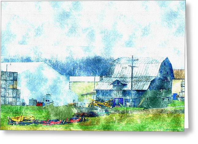Family Time Drawings Greeting Cards - Gee Farm Orchard Barns And Outbuildings   Greeting Card by Rosemarie E Seppala