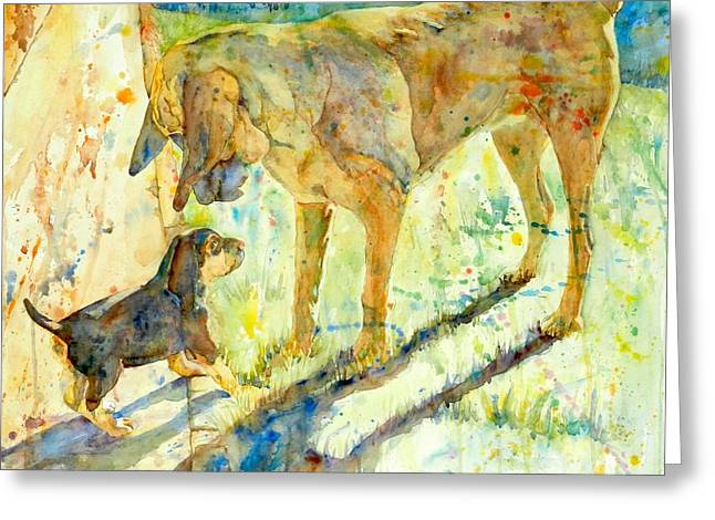 Blood Hound Greeting Cards - Gee Youre Big  Greeting Card by Andrea Merican