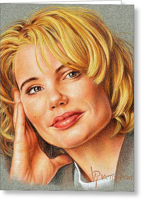Geena Davis Portrait Greeting Card by Victor Powell