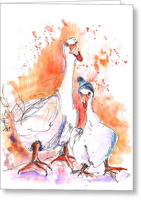 Geese In Spanish Winter Greeting Card by Miki De Goodaboom