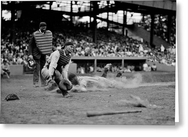 Gehrig Safe At Home Greeting Card by Benjamin Yeager
