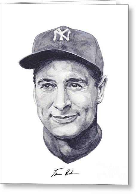 Mlb Paintings Greeting Cards - Gehrig Greeting Card by Tamir Barkan