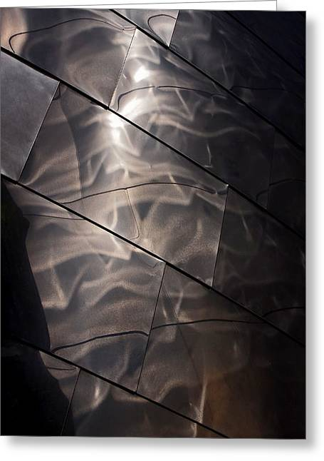 Stainless Steel Greeting Cards - Gehry Magic Greeting Card by Rona Black