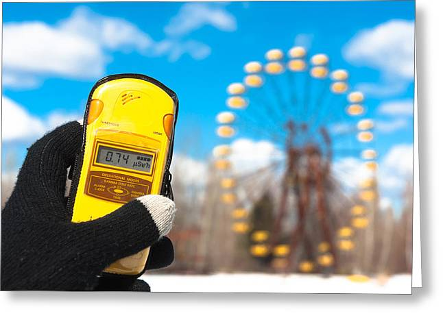 Glove Pyrography Greeting Cards - Geiger counter in chernobyl amusement park Greeting Card by Oliver Sved