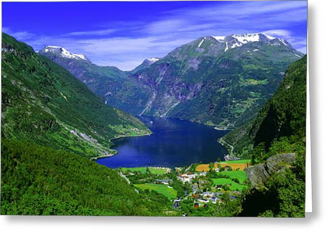 Snow Capped Photographs Greeting Cards - Geirangerfjord, Flydalsjuvet, More Og Greeting Card by Panoramic Images