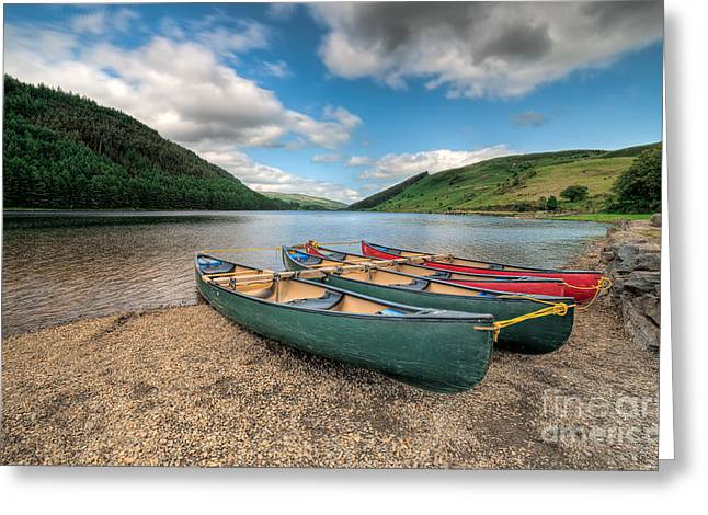 Green Canoe Greeting Cards - Geirionydd Lake Greeting Card by Adrian Evans