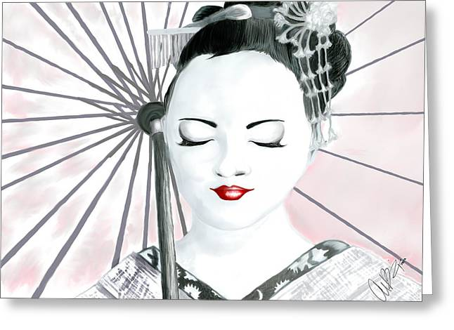 Pen And Ink Drawing Digital Art Greeting Cards - Geisha Greeting Card by Amanda Bright