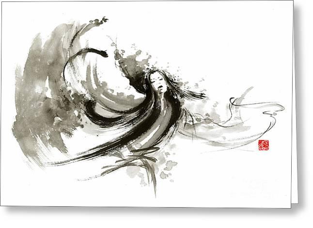 Geisha Dancer Dancing Girl Japanese Woman Original Painting Greeting Card by Mariusz Szmerdt