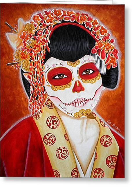 Geisha De Los Muertos Greeting Card by Al  Molina