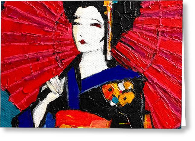 Emona Greeting Cards - Geisha Greeting Card by Mona Edulesco