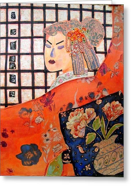 Diane Fine Greeting Cards - Geisha Girl Greeting Card by Diane Fine