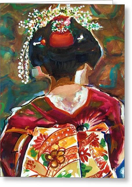 Geisha Girl Greeting Card by Therese Fowler-Bailey