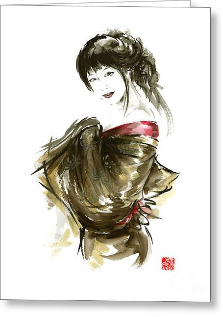Geisha Gold Kimono Japanese Woman Sumi-e Original Painting Art Print Greeting Card by Mariusz Szmerdt