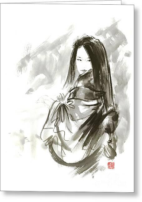 Geisha Japanese Woman Beauty Maiko Geiko Portrait Beautiful Face Kimono Original Japan Painting Art Greeting Card by Mariusz Szmerdt