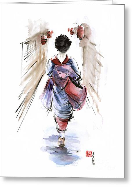 Geisha Japanese Woman In Kimono Original Japan Painting Art Greeting Card by Mariusz Szmerdt