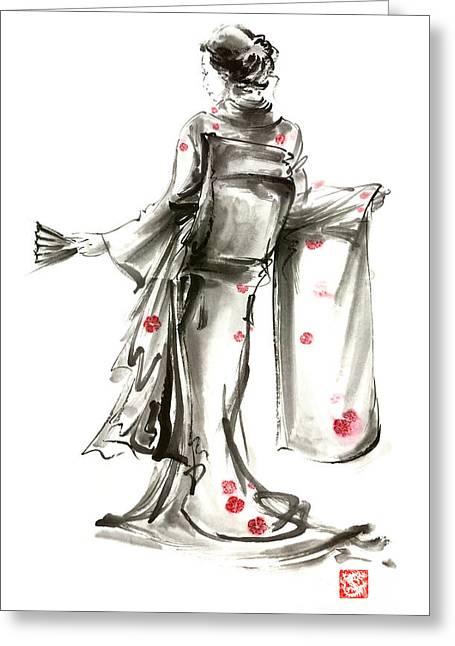 Geisha Japanese Woman Sumi-e Original Painting Art Print Greeting Card by Mariusz Szmerdt