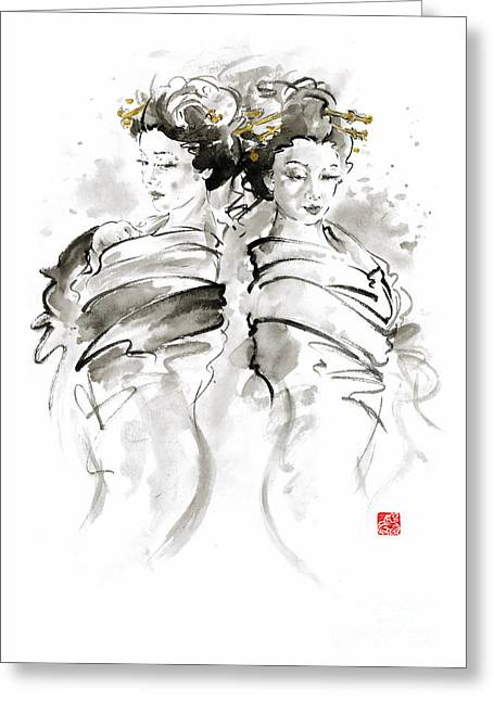 Geisha Japanese Women Woman In Kimono Traditional Original Japan Painting Art Hair Pin Style Design  Greeting Card by Mariusz Szmerdt