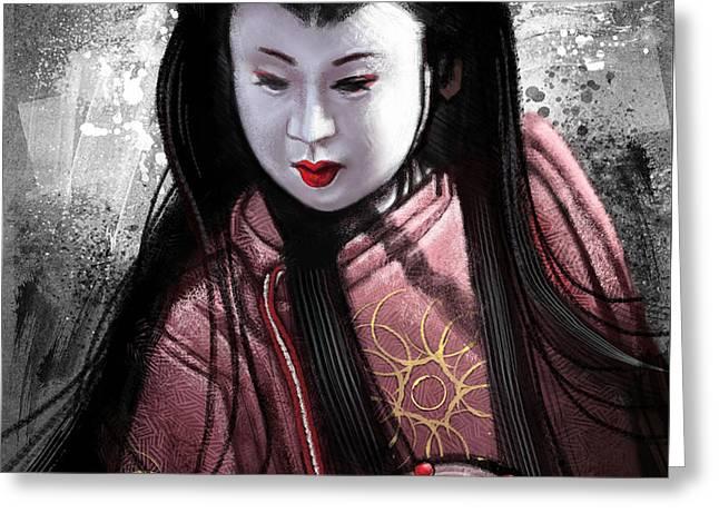 Kunoichi Greeting Cards - Geisha Kunoichi Greeting Card by Andre Koekemoer