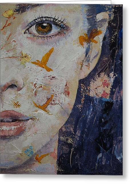Eyelash Greeting Cards - Geisha Greeting Card by Michael Creese