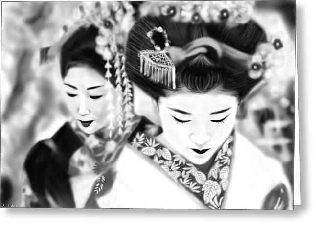 Yoshiyuki Uchida Greeting Cards - Geisha No.160 Greeting Card by Yoshiyuki Uchida