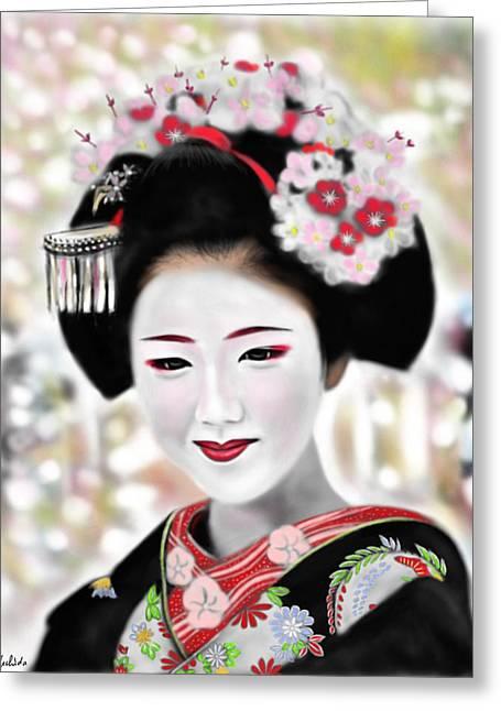 Yoshiyuki Uchida Greeting Cards - Geisha No.168 Greeting Card by Yoshiyuki Uchida