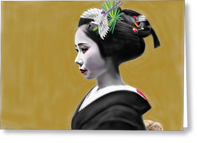 Yoshiyuki Uchida Greeting Cards - Geisha No.169 Greeting Card by Yoshiyuki Uchida