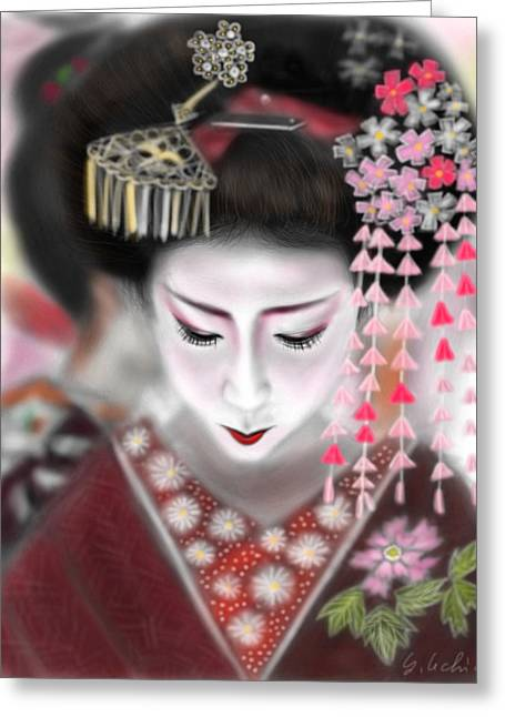 Yoshiyuki Uchida Greeting Cards - Geisha No.2 Greeting Card by Yoshiyuki Uchida