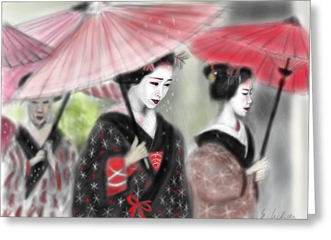 Yoshiyuki Uchida Greeting Cards - Geisha No.3 Greeting Card by Yoshiyuki Uchida