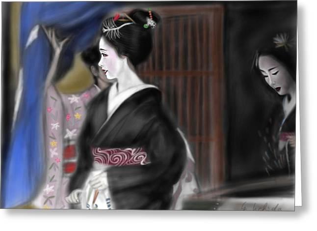 Yoshiyuki Uchida Greeting Cards - Geisha No.4 Greeting Card by Yoshiyuki Uchida