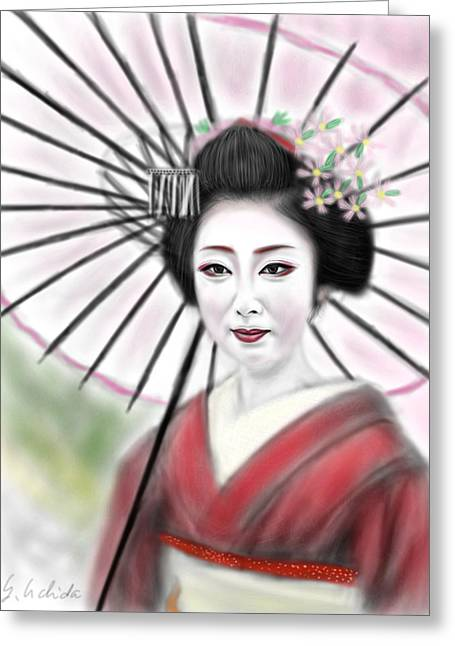 Yoshiyuki Uchida Greeting Cards - Geisha No.8 Greeting Card by Yoshiyuki Uchida