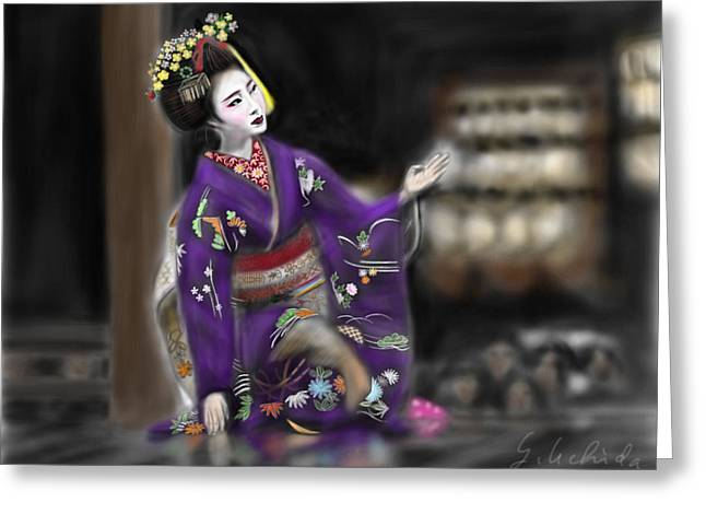 Yoshiyuki Uchida Greeting Cards - Geisha No.9 Greeting Card by Yoshiyuki Uchida