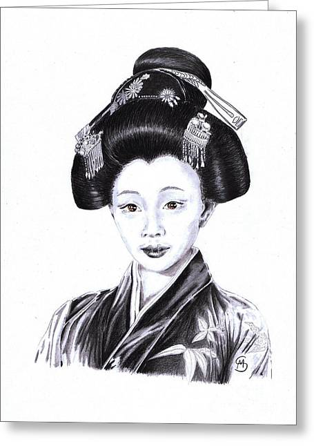 Kyoto Drawings Greeting Cards - Geisha Of Gion Greeting Card by Mandy Smith