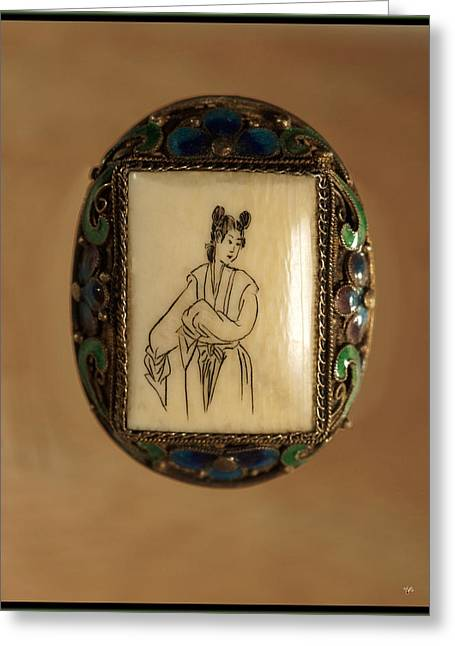 Escort Girl Greeting Cards - Geisha On Ivory Gold Framed Jaded Greeting Card by Lorenzo Williams