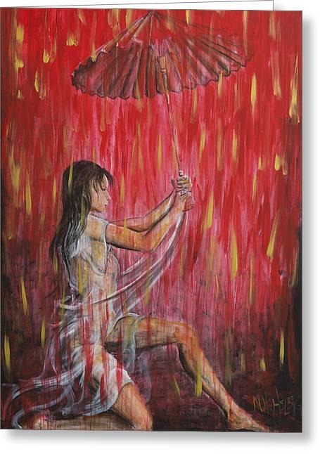 Geisha Rain Warrior Greeting Card by Nik Helbig