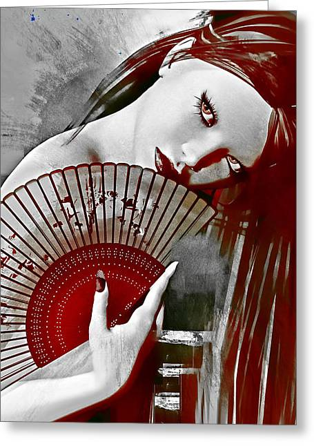 Girl Face Greeting Cards - Geisha Red Greeting Card by Shanina Conway