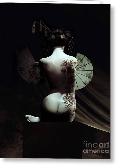 Subtle Greeting Cards - Geisha Greeting Card by Shanina Conway