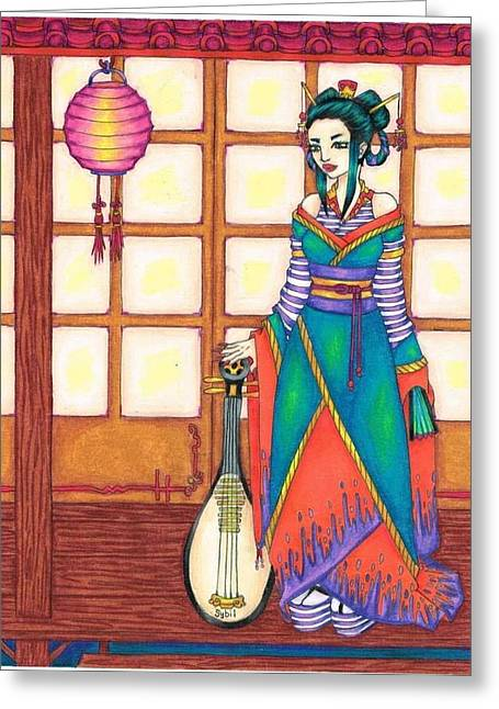 Screen Doors Greeting Cards - Geisha Greeting Card by Sybil Schubert
