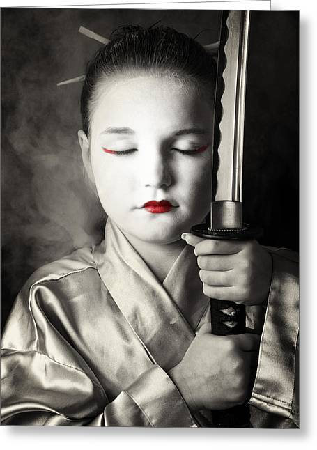 Tim Nichols Greeting Cards - Geisha Greeting Card by Tim Nichols