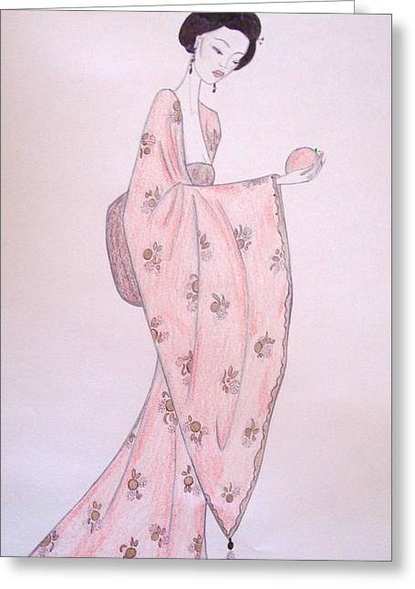 Robe Pastels Greeting Cards - Geisha with an Asian Pear Greeting Card by Christine Corretti