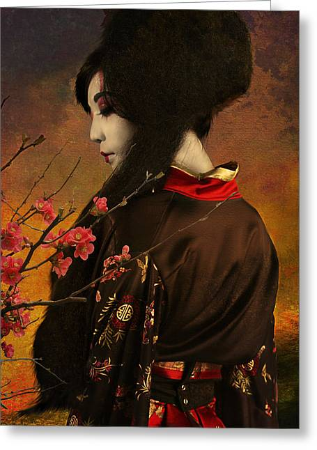 Quince Greeting Cards - Geisha with Quince - revised Greeting Card by Jeff Burgess