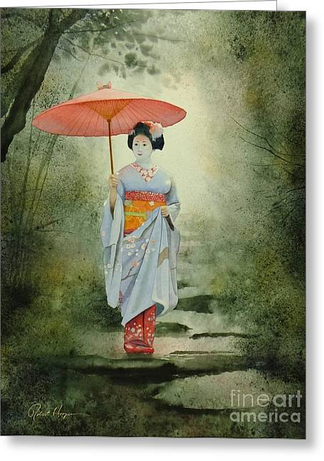 Umbrella Greeting Cards - Geisha With Umbrella Greeting Card by Robert Hooper