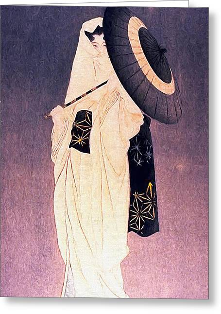 Geisha Greeting Cards - Geisha with Umbrella Greeting Card by Shanina Conway