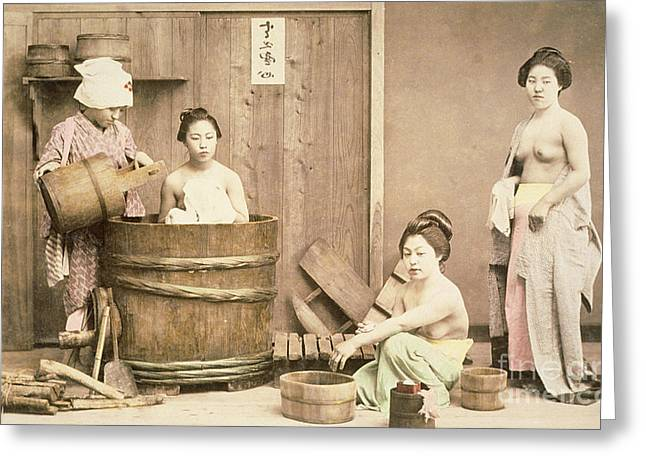 Nude Photographs Greeting Cards - Geishas bathing Greeting Card by English School