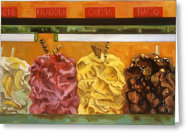 Italian Food Greeting Cards - Gelati Gelati Gelati Greeting Card by Jennie Traill Schaeffer