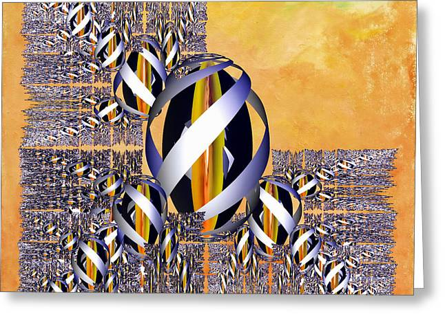 Generative Abstract Greeting Cards - Gem of Gold Greeting Card by Deborah Benoit