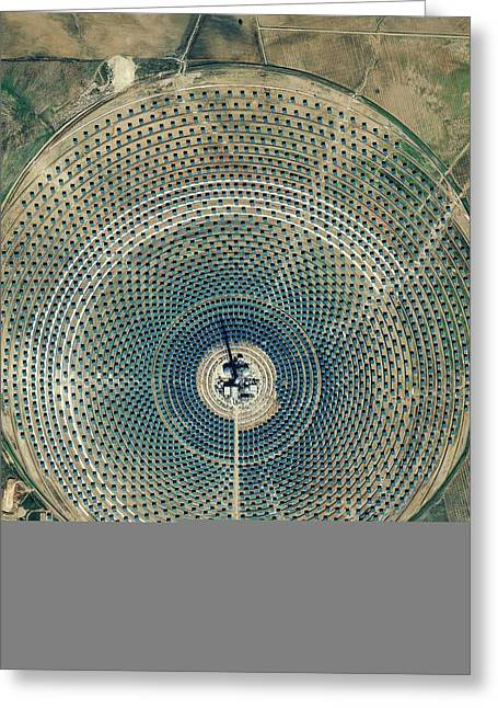 Power Plants Greeting Cards - Gemasolar power plant, satellite image Greeting Card by Science Photo Library