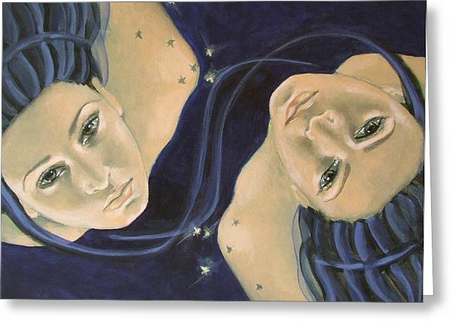 Constellations Paintings Greeting Cards - Gemini from Zodiac series Greeting Card by Dorina  Costras