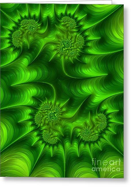 Gemini In Green Greeting Card by John Edwards