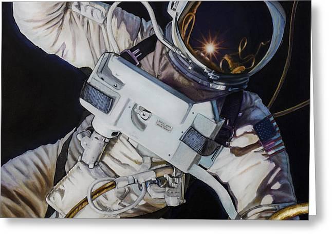 Gemini Iv- Ed White Greeting Card by Simon Kregar